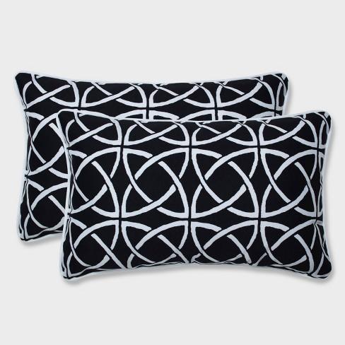 2pk Catamaran Tile Rectangular Throw Pillows Black - Pillow Perfect - image 1 of 1