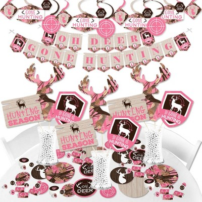 Big Dot of Happiness Pink Gone Hunting - Deer Hunting Girl Camo Baby Shower or Birthday Party Supplies - Banner Decoration Kit - Fundle Bundle