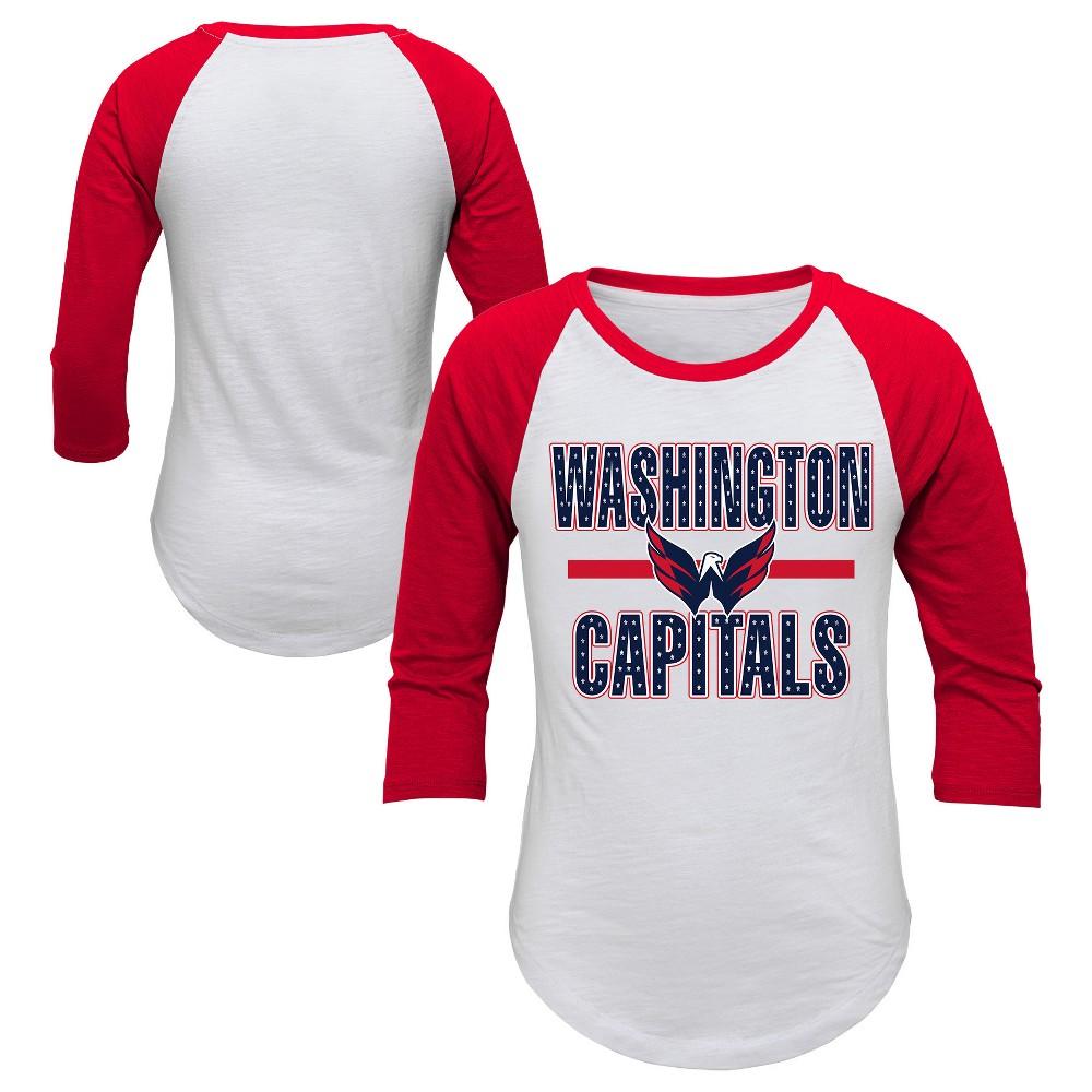 Washington Capitals Girls' Hot Shot White/ 3/4 Sleeve T-Shirt XL, Multicolored