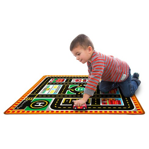Melissa Doug Round The City Rescue Rug With 4 Wooden Vehicles 39 X 36 Inches Target