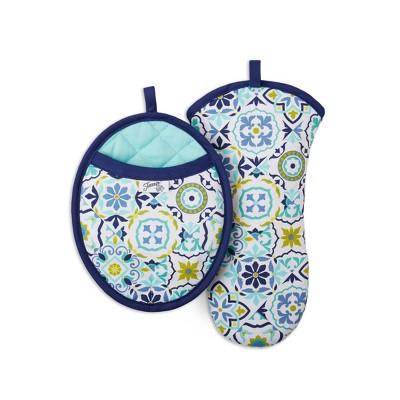 2pc Cotton Worn Tiles Pot Holder and Oven Mitt Set Blue/Yellow - Fiesta