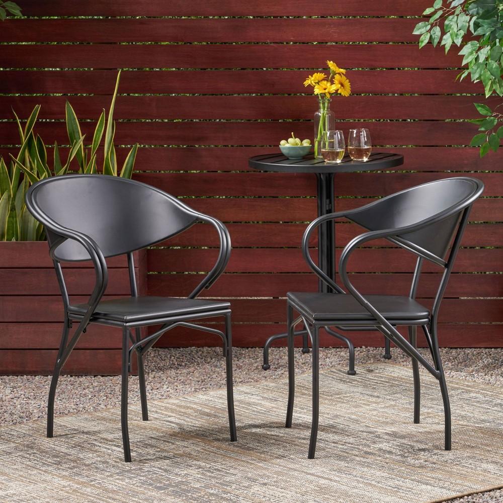 Palm Desert 2pk Modern Dining Chair Matte Black Christopher Knight Home