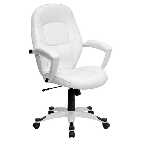 Mid Back White Leather Executive Swivel Office Chair Flash Furniture