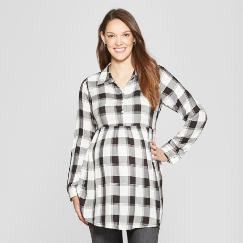 Maternity Plaid Long Sleeve Peplum Hem Shirt - Isabel Maternity by Ingrid & Isabel™ Black - image 1 of 2