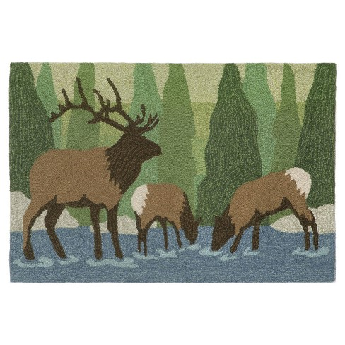 "Frontporch Indoor/Outdoor Elk Forest Rug 24""X36"" Green - Liora Manne - image 1 of 1"