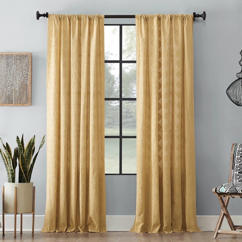 "Image of ""50""""x84"""" Diamond Fray Cotton Curtain Gold - Archaeo"""