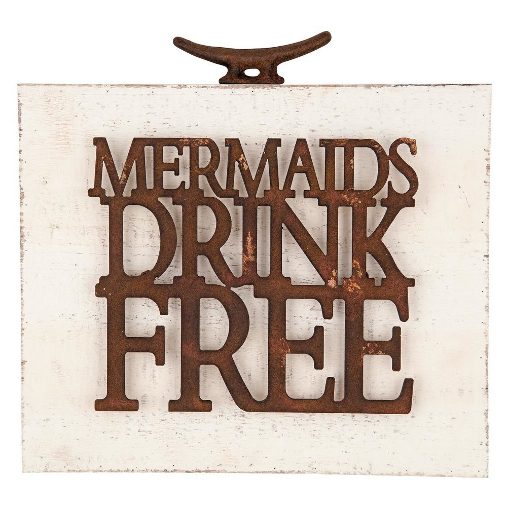 """Image of """"11.25x2""""""""x12"""""""" Wood Metal Mermaids Drink Free Wall Art White - Foreside Home & Garden"""""""