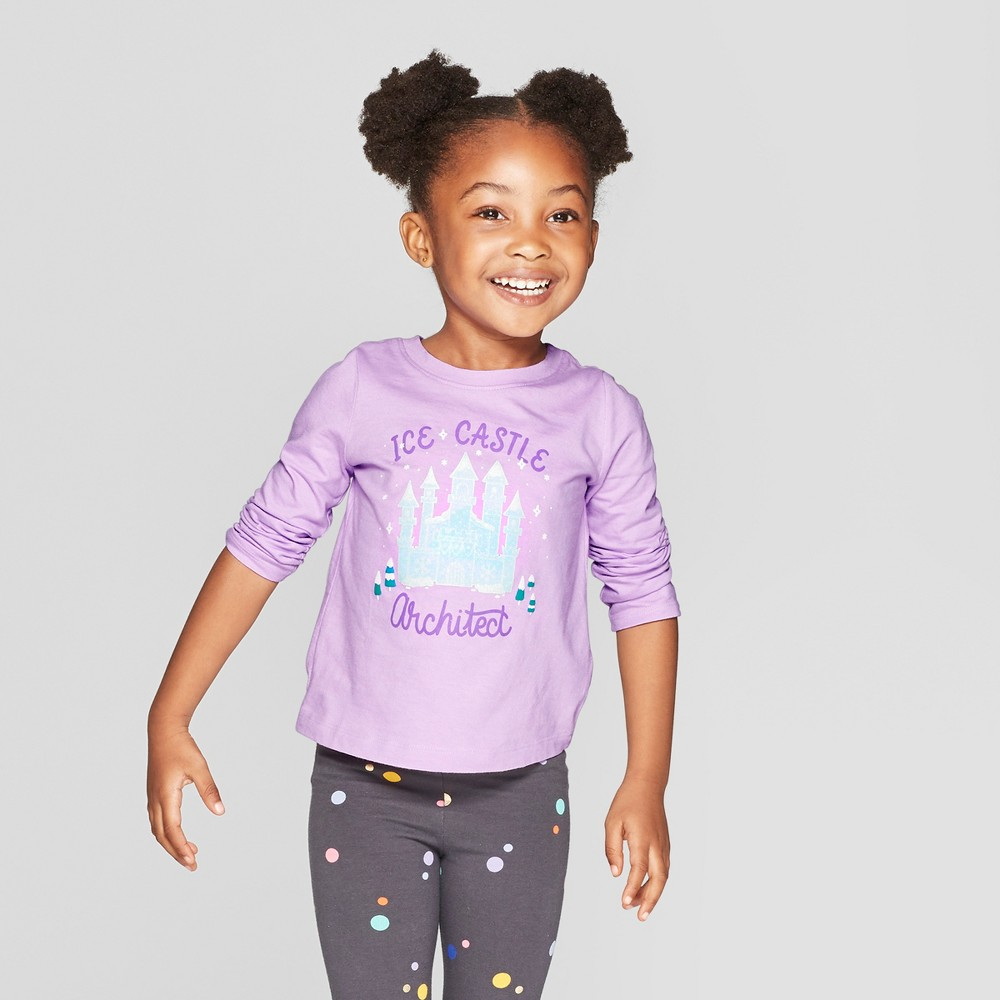 Toddler Girls' Long Sleeve 'Ice Castle' Graphic T-Shirt - Cat & Jack Purple 4T