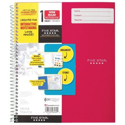 Five Star 1 Subject Wide Ruled Interactive Spiral Notebook (Color Will Vary)