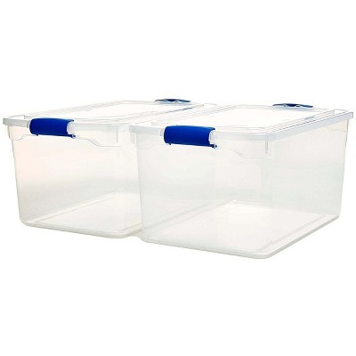 Homz Heavy Duty Modular Stackable Storage Tote Containers with Latching Lids, 66 Quart Capacity, Clear, 2 Pack