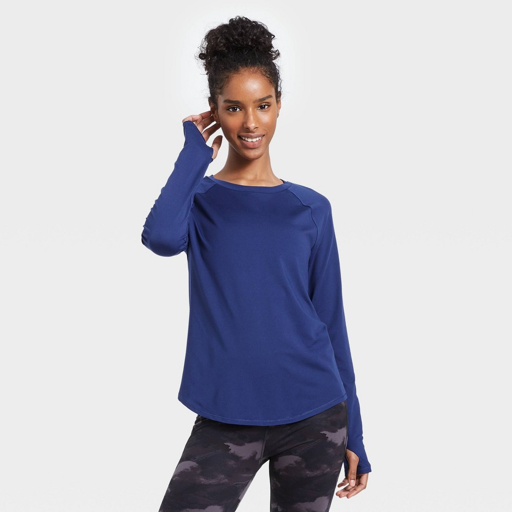 Women 39 S Essential Crewneck Long Sleeve T Shirt All In Motion 8482 Sapphire Xs