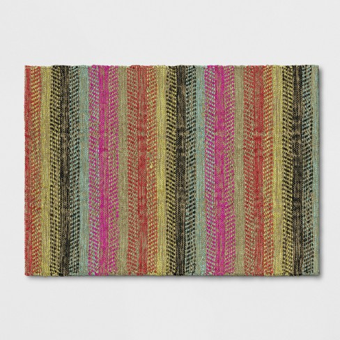 Pink/Blue/Yellow Striped Woven Accent Rug 2'X3' - Opalhouse™ - image 1 of 3