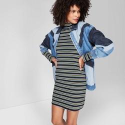 Women's Striped Long Sleeve Mock Turtleneck Knit Dress - Wild Fable™ Black