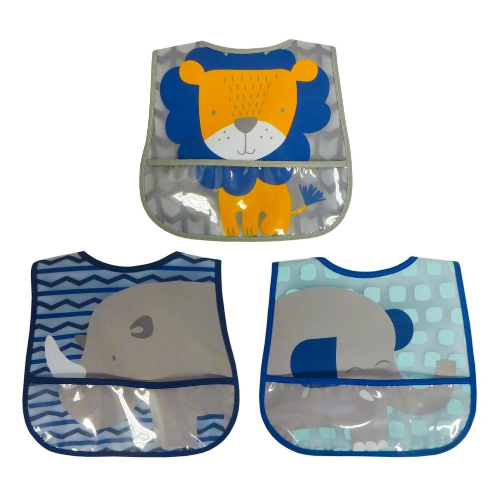 Neat Solutions 3pk Printed Translucent Peva/Knit Baby Bib Set - Green