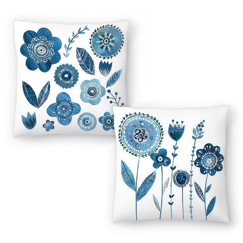 Americanflat Blue Flowers With Stems And Blue Flowers Leaves By Liz And Kate Pope Set Of 2 Throw Pillows Target