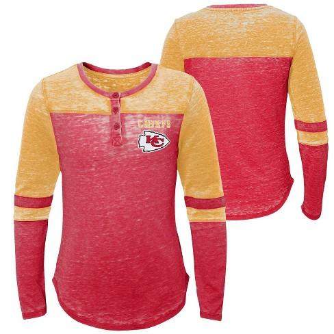 183b9c59 NFL Kansas City Chiefs Girls' Reverse Pass Burnout Long Sleeve Henley  T-Shirt - S