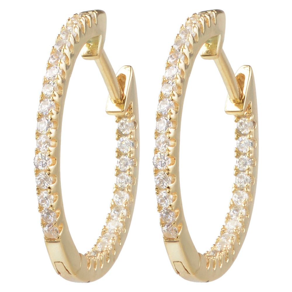 1/5 CT. T.W. Round-cut Cubic Zirconia Hoop Pave Set Earrings in Sterling Silver - Gold, Girl's Flaunt high fashion with these hoop earrings from Journee Collection. These earrings are crafted of premium sterling silver into dainty hoops that highlight cubic zirconia stones. A high polish finish completes this great look. Color: Gold. Gender: Female. Age Group: Kids.