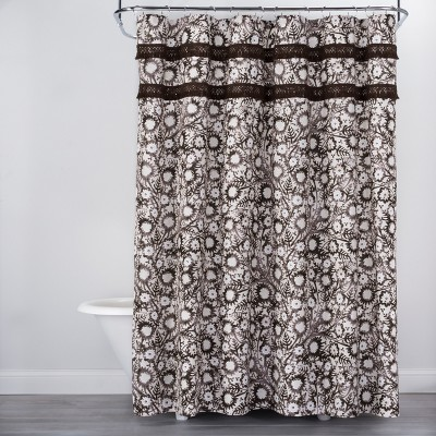 Botanical Print with Fringe Shower Curtain Brown/White - Opalhouse™