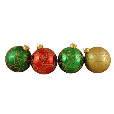 "Sterling 4ct Glittered Geometric Shatterproof Christmas Ball Ornament Set 3.25"" - Red/Green"