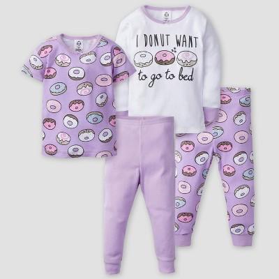 Gerber Baby Girls' 4pc Donuts Long Sleeve 100% Cotton Pajama Set - Purple/White 12M