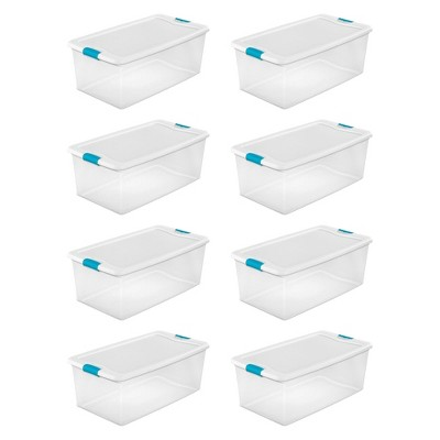 Sterilite 106 Quart Clear Plastic Latching Lid Storage Tote Container, 8 Pack