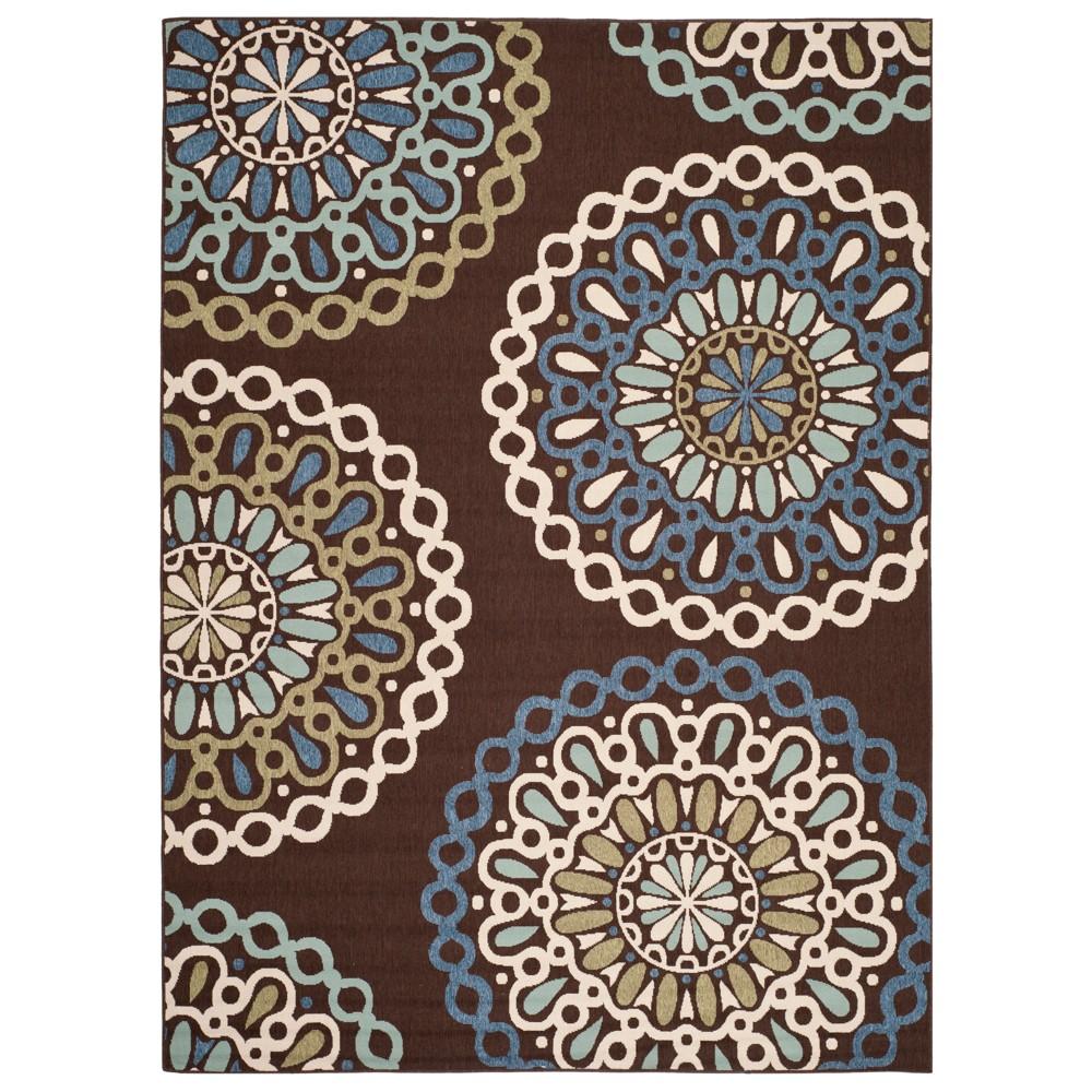 Mayleen Indoor/Outdoor Rug - Chocolate/Blue (Brown/Blue) - 8'x11'2 - Safavieh