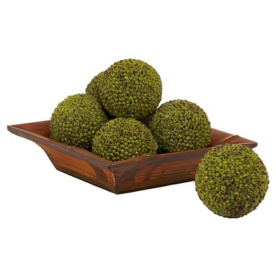 Nearly Natural set of 6 Berry Ball Green (4 )