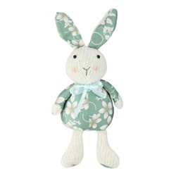 "Northlight 13"" Floral Easter Bunny Rabbit Spring Decoration - Green/White"