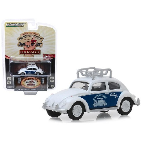 """Classic Volkswagen Beetle w/Roof Rack White """"Save Water"""" """"Busted Knuckle Garage"""" Series 1 1/64 Diecast Car by Greenlight - image 1 of 1"""