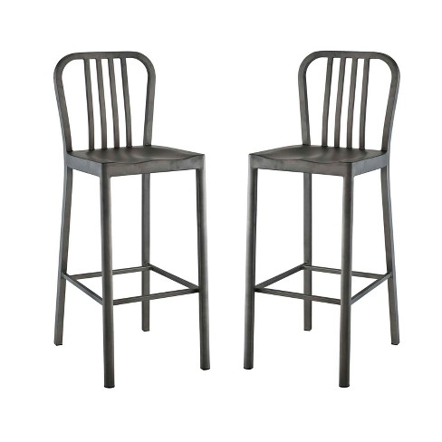 Clink Bar Stool Metal Set of 2 Silver - Modway - image 1 of 5