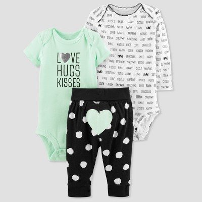 Baby Girls' 3pc Turn Me Around Love Set - Just One You® made by carter's Mint/Black Newborn