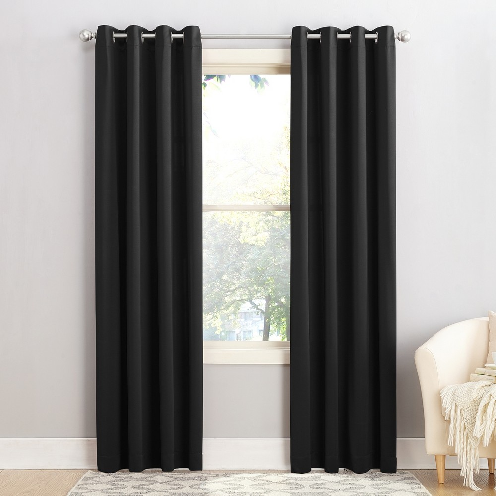 Seymour Energy Efficient Grommet Curtain Panel Black 54
