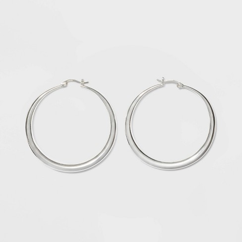 Silver Plated Graduated Hoop Earrings 50mm - A New Day™ Silver - image 1 of 2