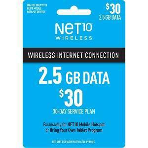 NET10 $30 Mobile Hotspot (2.5GB) Data Plan - (Email Delivery)