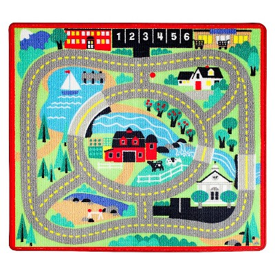 Melissa & Doug® Round the Town Road Rug and Car Activity Play Set With 4 Wooden Cars (39 x 36 inches)