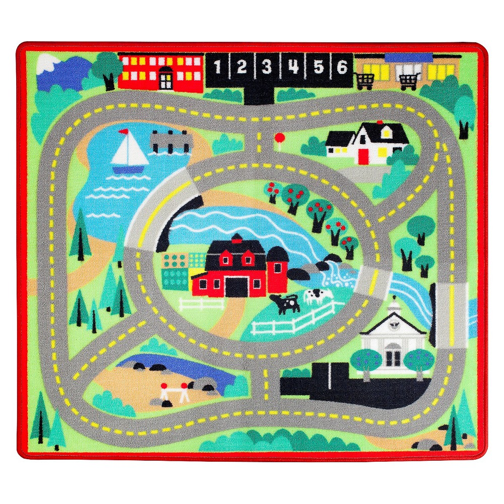 Melissa and Doug Round the Town Road Rug and Car Activity Play Set With 4 Wooden Cars (39 x 36 inches)