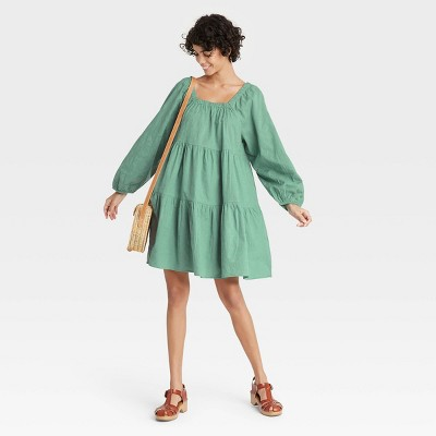 Women's Puff Long Sleeve Tiered Dress - Universal Thread™