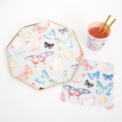 Meri Meri - Butterfly Party Supplies Collection (Plate, Napkin, Cup) - Set of 8