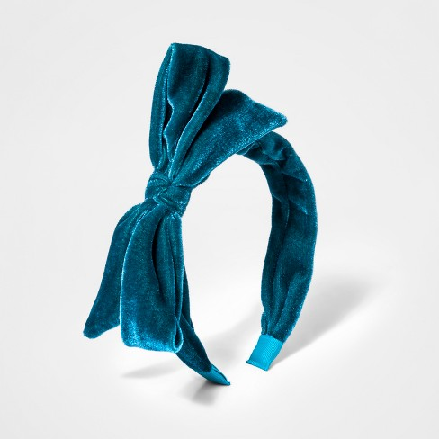 Toddler Girls  Velvet Bow Headband - Cat   Jack™ Teal   Target ed78f592d92