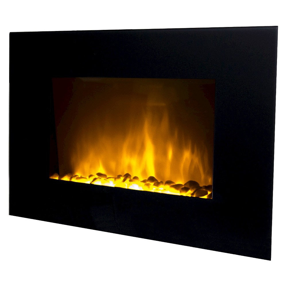 Warm House Oslo 35 Led Color Changing Fireplace with 2 Heat Settings and Remote Control, Black