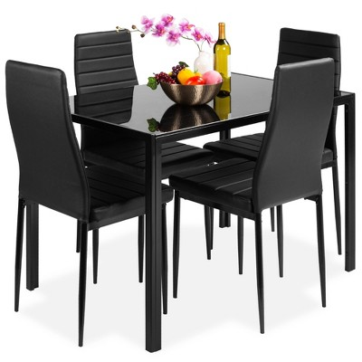 Best Choice Products 5-Piece Kitchen Dining Table Set w/ Glass Table Top, 4 Faux Leather Chairs - Black