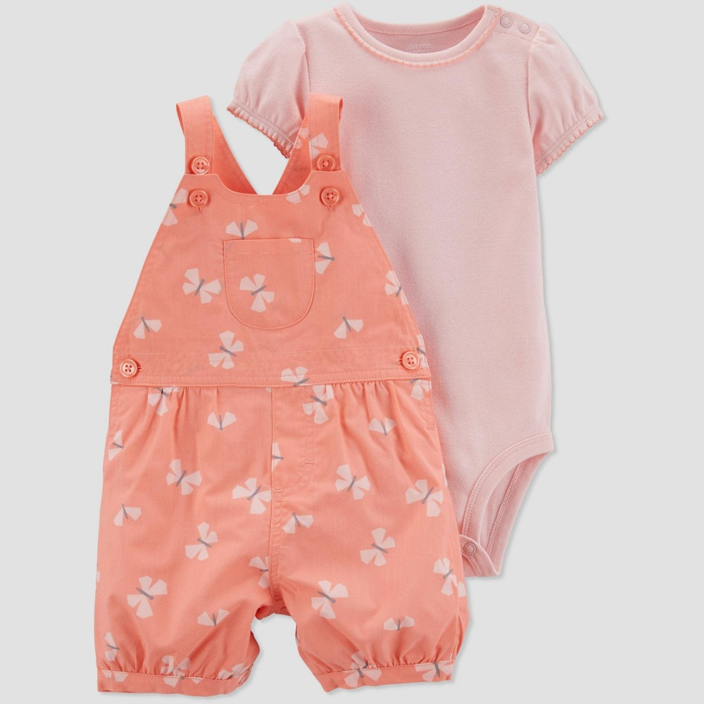 Baby Girls' 2pc Butterfly Shortall Set - Just One You made by carter's Pink/Orange 9M