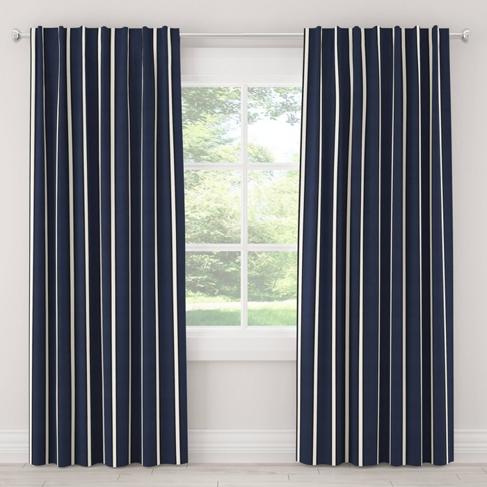 Dress Stripe Blackout Curtain Panel Navy - Cloth & Co. - image 1 of 6