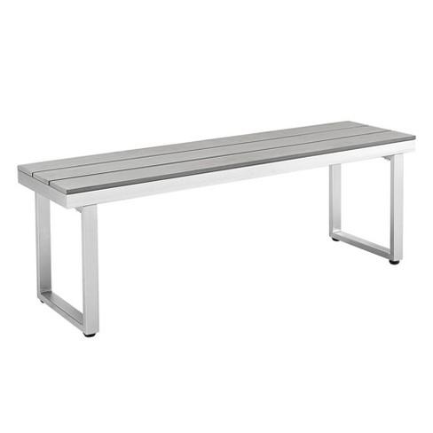 Aluminum Wood All Weather Patio Dining Bench Gray Saracina Home Target