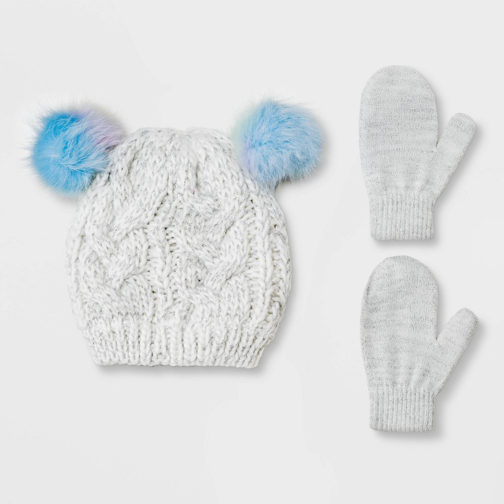 Image of Toddler Girls' Knit Beanie & Magic Mittens Set - Cat & Jack Gray 2T-5T, Girl's
