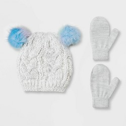 Toddler Girls' Knit Beanie & Magic Mittens Set - Cat & Jack™ Gray 2T-5T