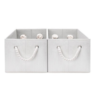 StorageWorks Set of 2 (34L)Rectangle Polyester Storage Bin with Cotton Rope Handles Ivory