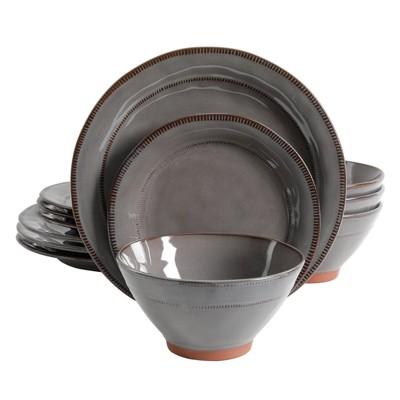 Gibson Elite 12pc Stoneware Terranea Dinnerware Set Gray