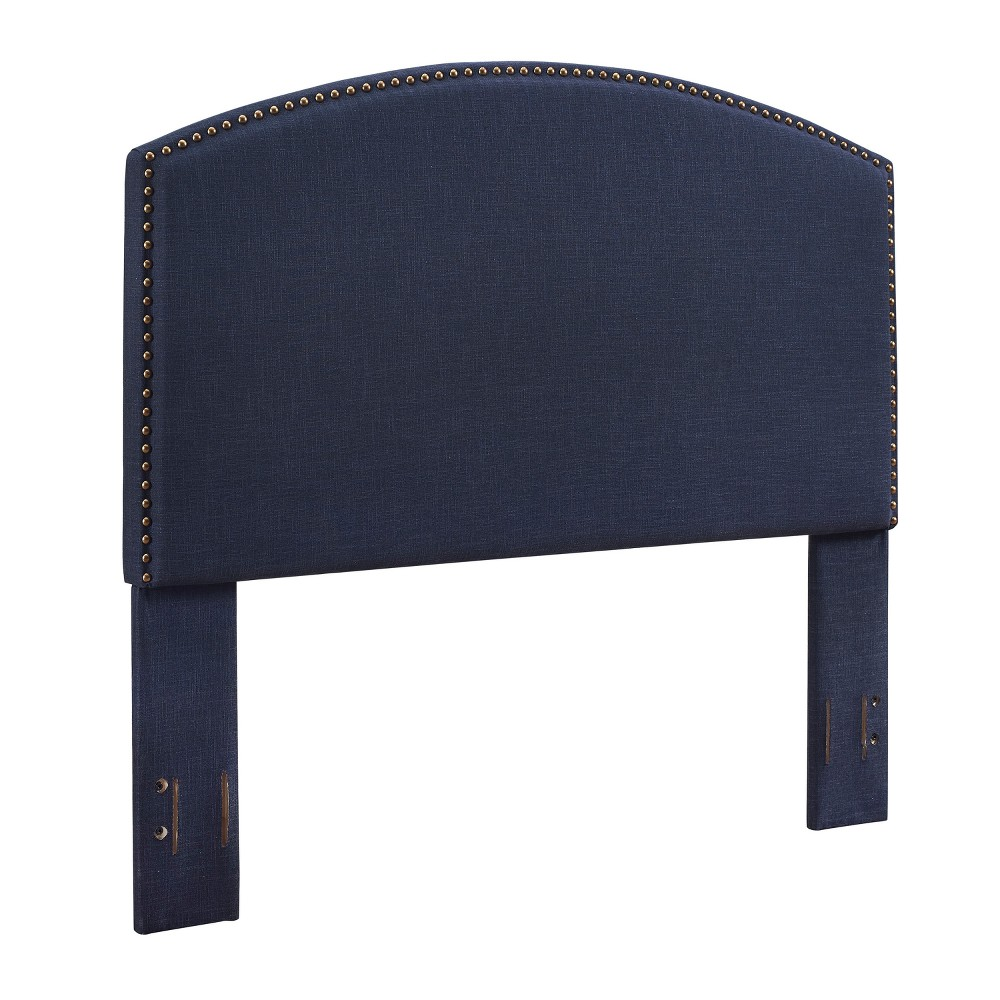 Cassie Curved Upholstered Full/Queen Adult Headboard Linen Navy (Blue) - Crosley