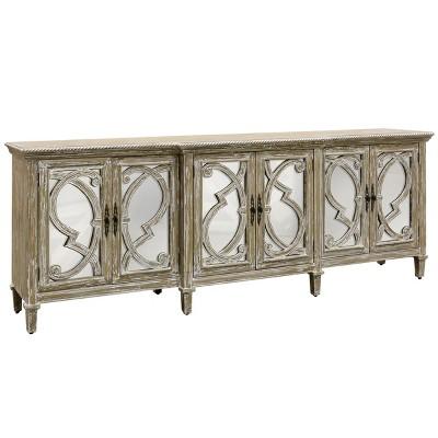 Naples 6 Door Mirrored Cabinet Natural - Stylecraft
